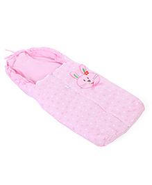 Montaly Baby Sleeping Bag Bunny Embroidery - Pink
