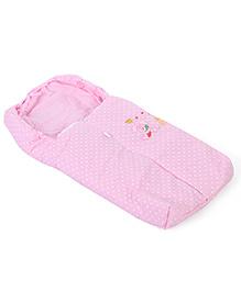 Montaly Baby Sleeping Bag Polka Dot Print & Rabbit Embroidery - Pink