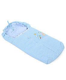 Montaly Baby Sleeping Bag Polka Dot Print & Rabbit Embroidery - Blue