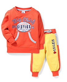 Mickey Full Sleeves T-Shirt And Track Pant Caption Print - Orange Yellow