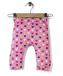 Jute Baby Heart Print Leggings - Pink