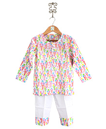 Frangipani Kids Ice Cream Party Nightwear Set - Multicolour