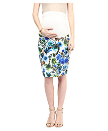 Mamacouture Jewel Printed Knee Length Maternity Skirt - Blue