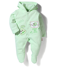 Child World Hooded & Footed Patch Work Rompers - Light Green