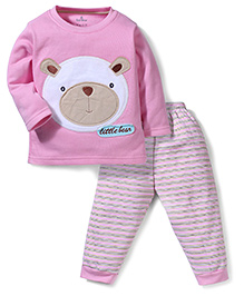 Child World Full Sleeves T-Shirt and Leggings Little Bear Embroidery - Pink
