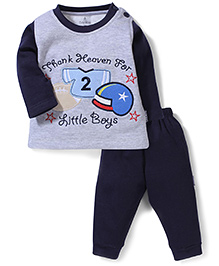 Child World Full Sleeves T-Shirt and Leggings Little Boys Embroidery - Blue and Grey