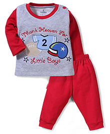 Child World Full Sleeves T-Shirt and Leggings Little Boys Embroidery - Red and Grey
