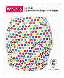 Babyhug Free Size Reusable Cloth Diaper With Insert Polka Dots - Multicolor