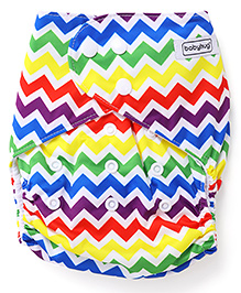Babyhug Free Size Reusable Cloth Diaper With Insert Chevron Print - Multicolor