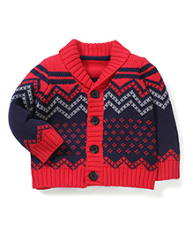 Mothercare Full Sleeves Chunky Zig Zag Knit Sweater - Red & Navy
