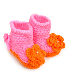 ATUN Boots With Orange Flower - Pink