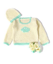 ATUN Hand Crochet Crown Sweater Set - Blue