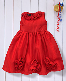 Pspeaches Party Dress Embellished With Flowers - Red