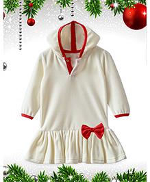 ATUN Celebration Velour Hooded Peplum Tunic - White