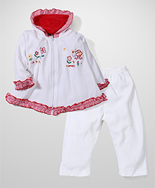 Babyhug Full Sleeves Hooded Top and Leggings Set Fun in the Moment Embroidery - White and Red