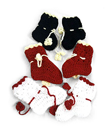 GoCuddle by Jasleen Set of 3 Booties - White Red & Blue