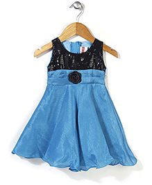 Softouch Sleeveless Party Frock Sequin Bodice - Blue And Black