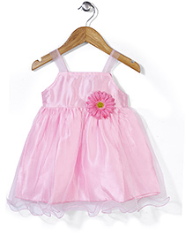 Softouch Singlet Party Netted Frock Floral Applique - Pink