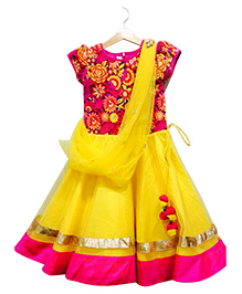 Mimosa Ankle Length Anarkali With Attached Stole - Yellow