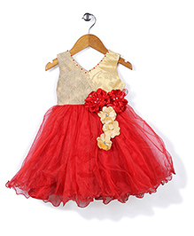 Bluebell Floral Applique Ruffled Party Frock - Red & Golden