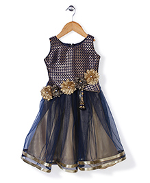 Bluebell Sleeveless Party Frock Floral Appliques - Navy Blue