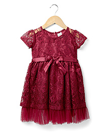Marsala by Babyhug Short Sleeves Party Frock Bow Applique - Maroon