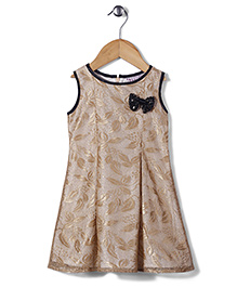 Angelito Sleeveless Party Frock Bow Appliques - Golden