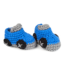 Jute Baby Handmade Crochet Booties  - Royal Blue Grey
