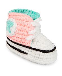 Jute Baby Handmade Crochet Booties Star Design- Pink White