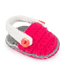 Jute Baby Handmade Crochet Booties  - Pink Grey