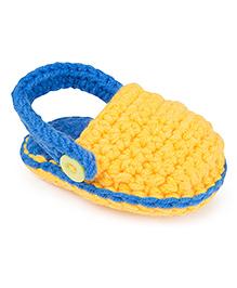Jute Baby Handmade Crochet Booties  - Yellow Royal Blue