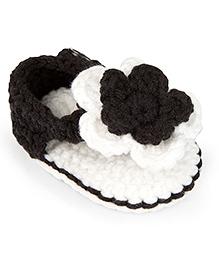 Jute Baby Handmade Crochet Booties Floral Applique - Black White