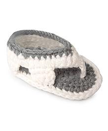 Jute Baby Handmade Crochet Flip Flop Style Booties  - White Grey