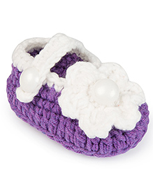Jute Baby Handmade Crochet Booties Floral Applique - Purple White