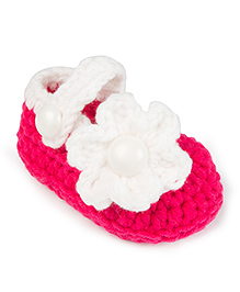 Jute Baby Handmade Crochet Booties Floral Applique - Pink White