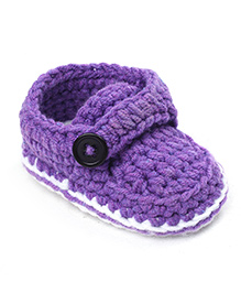 Jute Baby Handmade Crochet Booties - Purple White