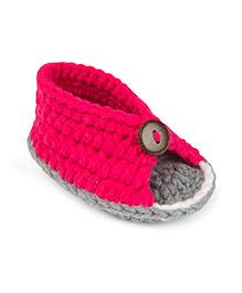 Jute Baby Handmade Crochet Booties - Dark Pink