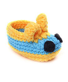 Jute Baby Handmade Crochet Booties - Sky Blue Yellow