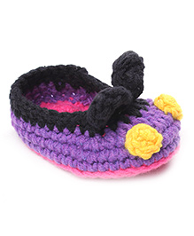 Jute Baby Handmade Crochet Booties - Purple Black