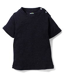 Babyhug Half Sleeves Plain Thermal Vest - Black