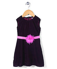 Angelito Sleeveless Party Frock Floral Appliques - Dark Purple