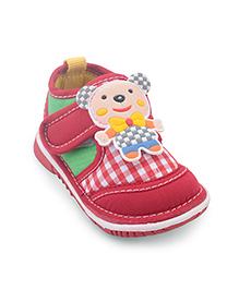 Cute Walk Casual Shoes Teddy Motif - Red