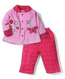Cucumber Fleece Top And Dotted Leggings Butterfly Patch - Pink