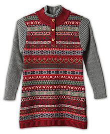 Liliput Kids Full Sleeves Eclectic Pattern Tunic - Grey