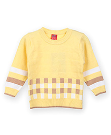 Liliput Kids Full Sleeves Check And Stripes Design Sweater - Yellow