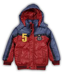 Liliput Kids Numero Cinco Full Sleeves Hooded Jacket - Mud Red And Blue