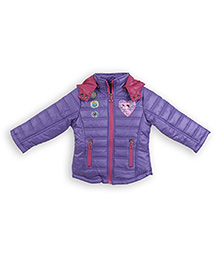 Liliput Kids Full Sleeves Adorable Kitty Hooded Jacket  - Purple