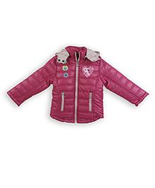 Liliput Kids Full Sleeves Adorable Kitty Hooded Jacket  - Rum Raisin Pink