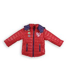 Liliput Kids Full Sleeves Adorable Kitty Hooded Jacket  - Scarlet Red