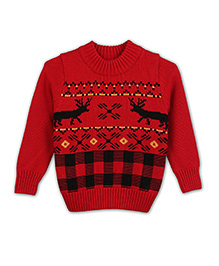 Liliput Kids Full Sleeves Majestic Moose Assorted Pattern Sweater - Deep Red